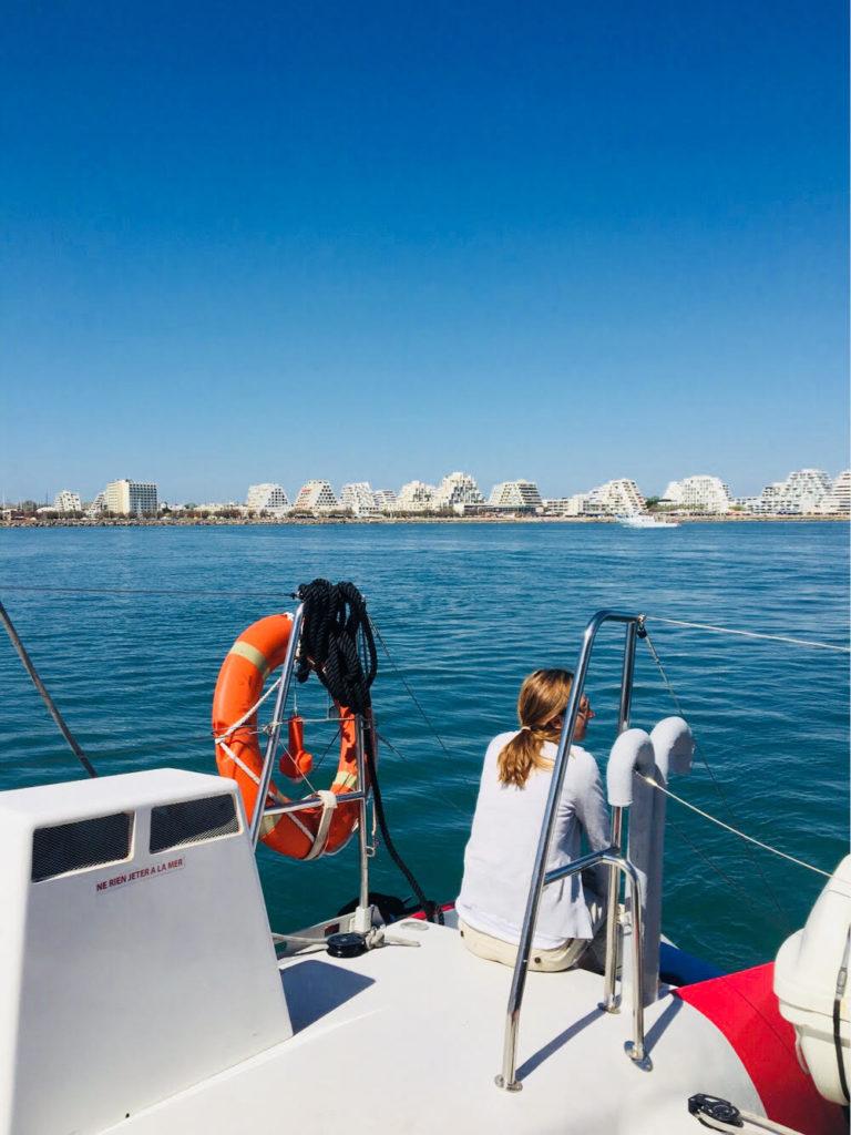 vue mer La Grande Motte catamaran bateau