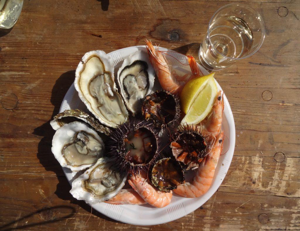 Plateau de fruit de mer et dégustation de vin