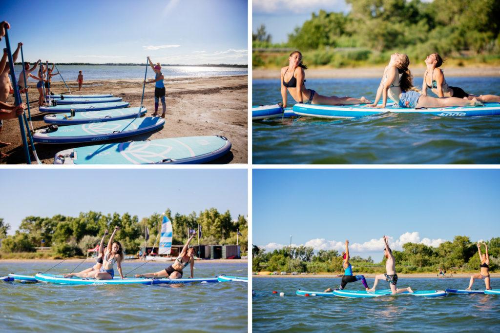 Cours de yoga paddle sur l'étang du ponant