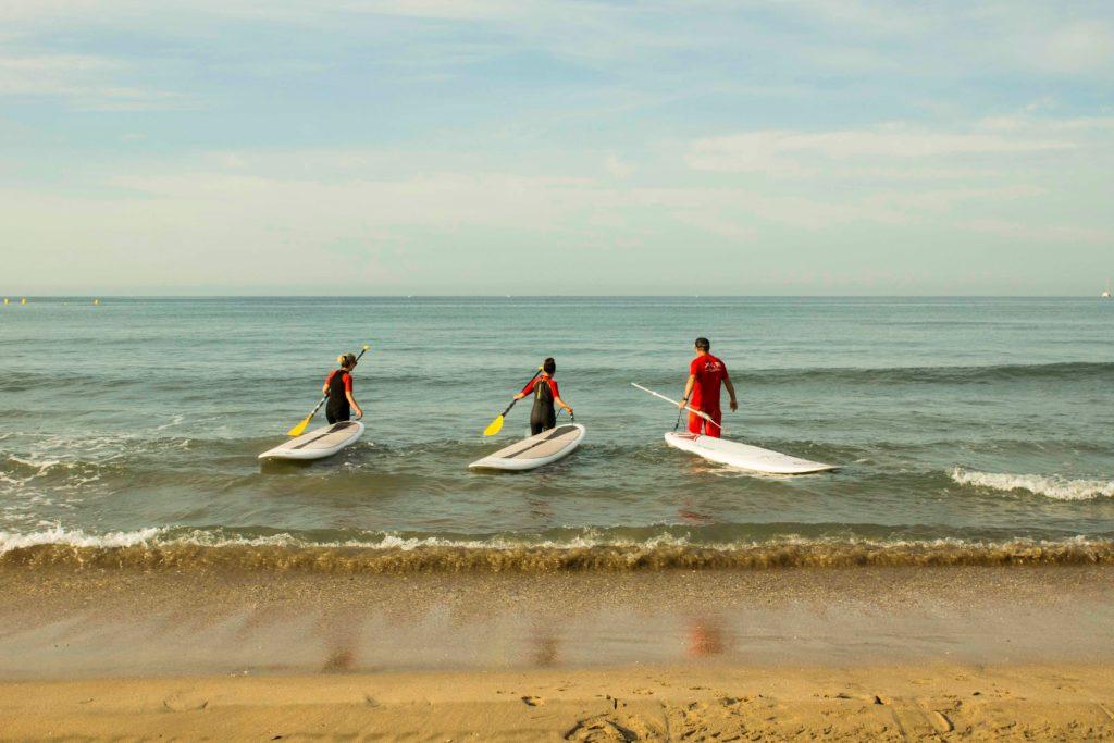 Entrée dans l'eau en paddle